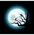 Halloween with Raven and Full Moon vector image vector image