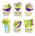 collection of healthy cooking logo and organic vector image vector image