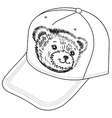 Bear smiling snout logo on the cap vector image vector image