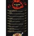 Colorful seafood menu on vector image