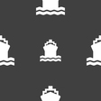 ship icon sign Seamless pattern on a gray vector image