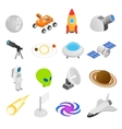 Space isometric 3d icons vector image