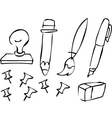 doodle stationery vector image vector image