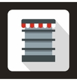 Empty supermarket refrigerator icon flat style vector image