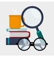 search books glasses coffee vector image
