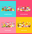 happy easter greeting set vector image