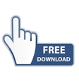 Mouse hand cursor on free download button vector image