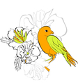 bird on floral background vector image