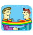 Gay couple with rainbow vector image