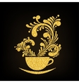 Gold Glitter Cup of Coffee with Floral vector image