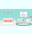 modern style hotel bedroom interior with furniture vector image
