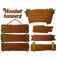 Set of dark wooden banners 2 vector image