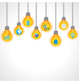 Yellow bulb with business icons vector image