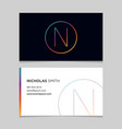 business-card-letter-n vector image