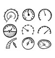 collection of hand drawn speedometer icons vector image