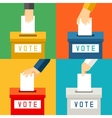 Hand putting voting paper in ballot box vector image