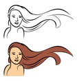 Long hair vector image vector image