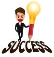 Businessman successful concept and lightbulb penci vector image