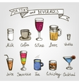 set of hand drawn drinks vector image