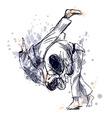 Colored hand sketch fighting judo vector image