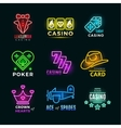 Neon light poker club and casino signs set vector image