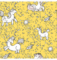 Cute seamless unicorn pattern with stars and suns vector image