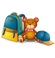 A backpack a bear and a baseball cap vector image