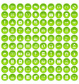 100 headphones icons set green circle vector image
