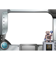 A metallic frame with a robot standing vector image vector image