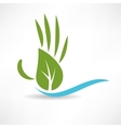 ecological wood and water icon vector image vector image