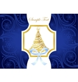Christmas blue and gold greeting card with vector image vector image
