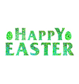 Happy Easter lettering with eggs vector image vector image