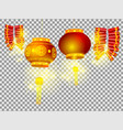 chinese lanterns and firecrackers on transparent vector image