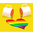 Gay rainbow and coffee cups with love heart vector image