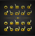 thai gold alphabet number-number zero to nine vector image