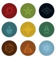 Minimal geometric vintage labels on color vector image