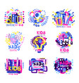 creative kids set of colorful logo graphic vector image vector image