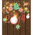 wooden background with Christmas decorations vector image