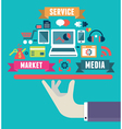 Flat concept of media market service vector image