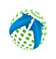 3d of Green Earth Globe Blue Arrow vector image