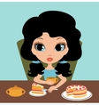 Little girl eats a pie vector image