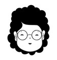 Contour woman face with hairstyle and glasses vector image