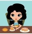 Little girl eats a pie vector image