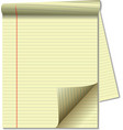 yellow legal pad corner paper page curl spotlight vector image