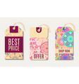 set ethnic tag gift coupon vector image vector image