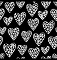 hand drawn hearts pattern vector image