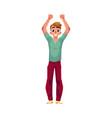 young man boy guy rejoicing cheering jumping vector image