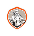 Chef Cook Holding Frying Pan Retro vector image