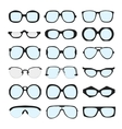 set of different glasses with lenses on vector image
