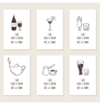Business cards set with outline hand drawn drinks vector image